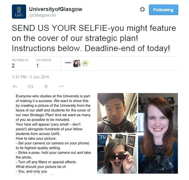 Glasgow selfie tweet
